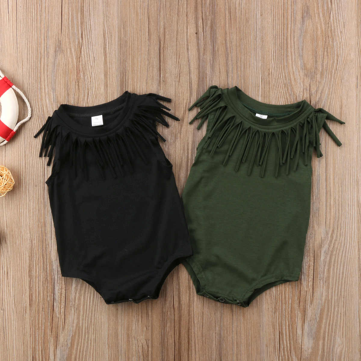 5bf4bd68258 Detail Feedback Questions about 2018 Baby Girls Boy Cute Sleeveless Toddler  Black Green Tassel Clothes Jumpsuit Bodysuit Casual Novelty Summer Outfits  on ...