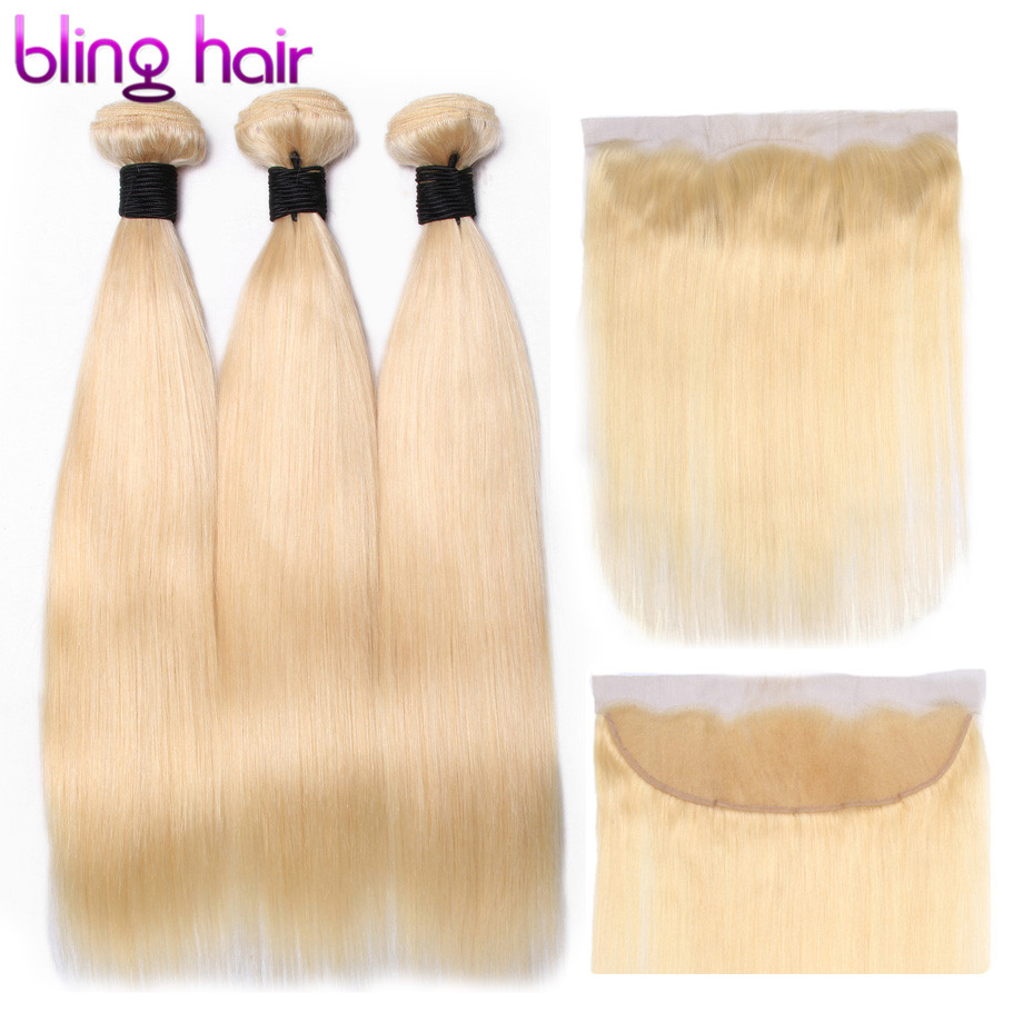 Bling Hair 613 Blonde Straight Hair Bundles with Frontal 13 4 Free Part Brazilian Human Hair
