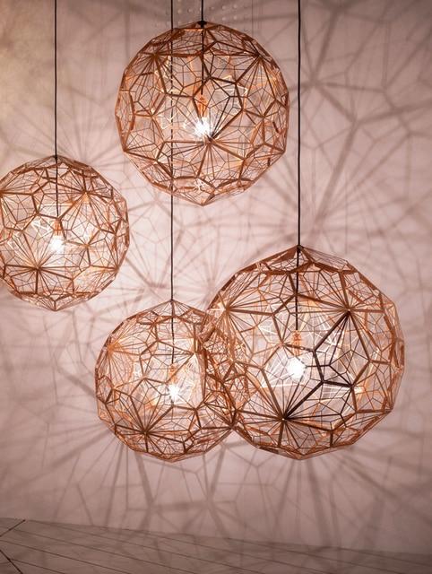 Réplica de web etch luminária de luz pingente moderna, lâmpada para sala de estar estudo cozinha