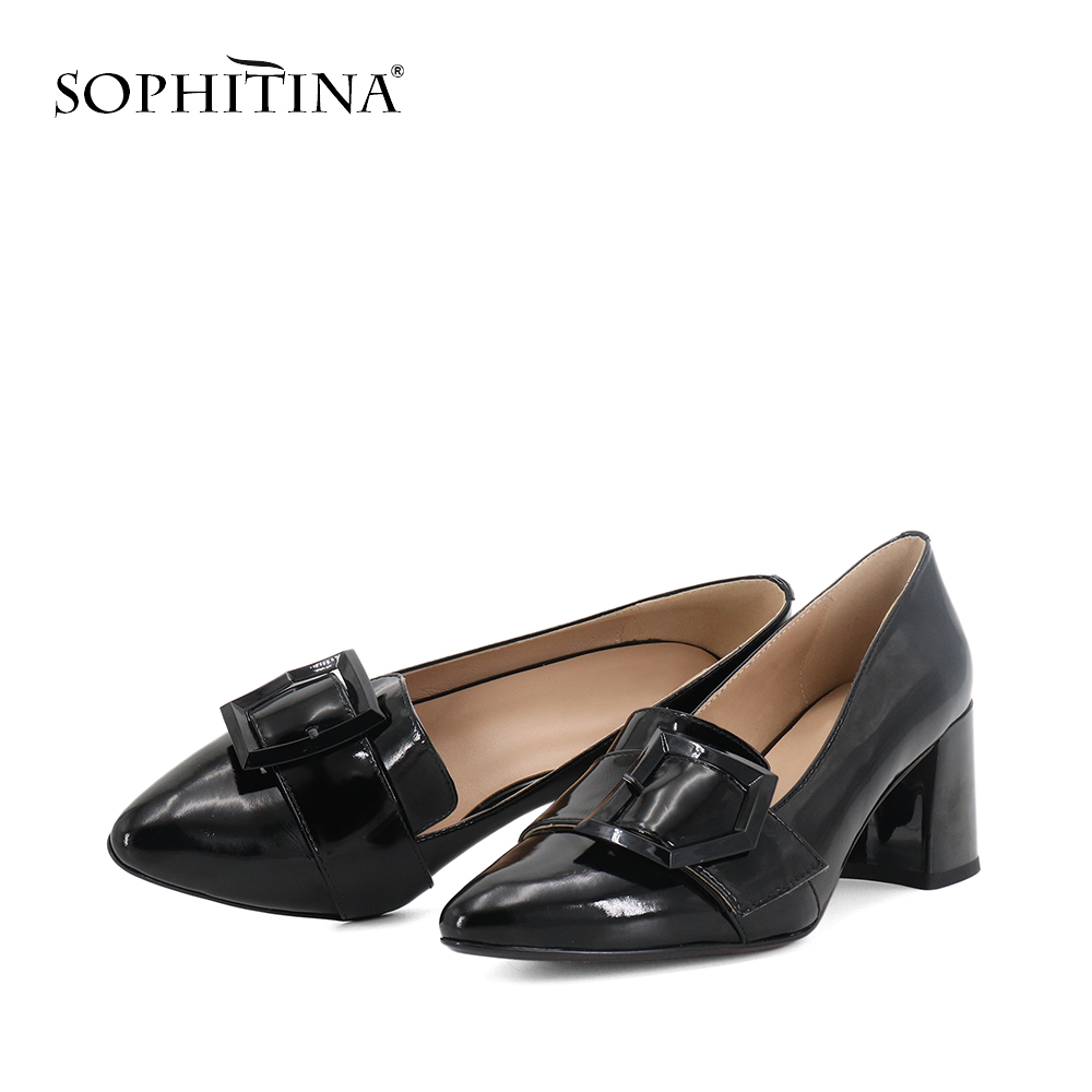 SOPHITINA 2019 Autumn Women's Pumps High Square Heel Fashion Patent Leather Pointed Toe Slip-On Shoes Office Sheepskin Pumps W26