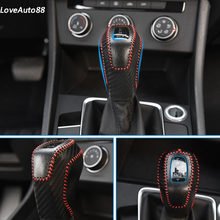 Car Leather Knob Cover For Volkswagen VW Jetta MK7 2019 Gear Head Shift Collars Case Stylings