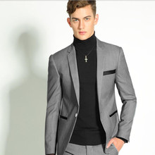 Blue fashion leisure suit men suit New business formal occasions suits cultivate one's morality groom wedding suit(jacket+pants)