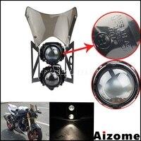 Universal Motorcycle Streetfighter Twin Headlamp Custom Projector H3 Head Light Windscreen Stack Headlight For Honda Suzuki