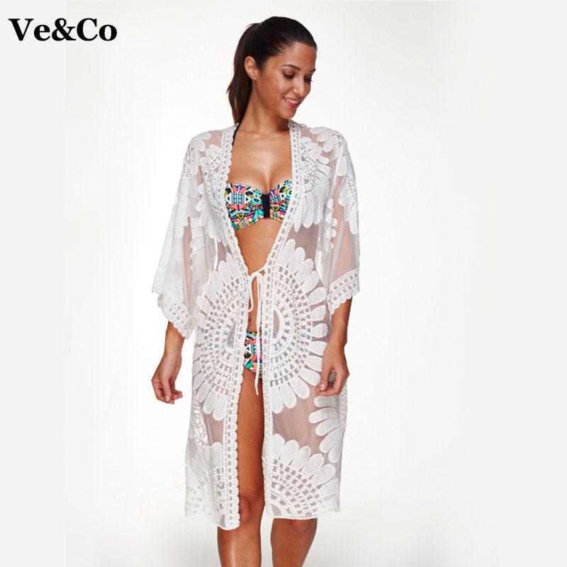 Pareo Floral Embroidery Bikini Beach Cover Up Swimwear ...
