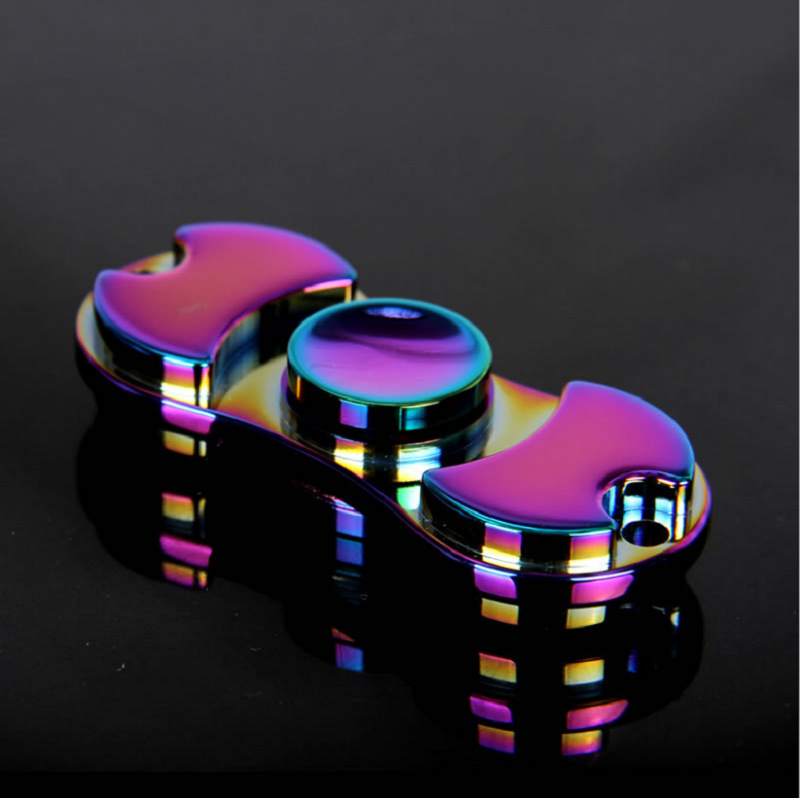 New Colorful Creative Metal Two-Spinner Fidget Toy Metal EDC Hand Spinner For Autism Rotation Time Long Anti Stress Toys