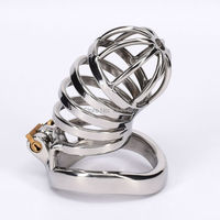SODANDY Stainless Steel Male Chastity Belt Metal Cock Cage Devices Bondage Penis Sex Toys For Men Lock Gay Cockring Adult