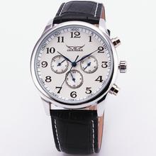 Новый Благородный Ретро Белый 6 Руки Мужчины Автоматические Механические Наручные Часы Кожаный Ремешок Белый Циферблат + КОРОБКА ПОДАРКА