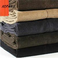 ICPANS Corduroy Men Trousers Straight Thick Warm Autumn Winter Men Pants High Waist Mens Pants Plus Size 40 42 44 46