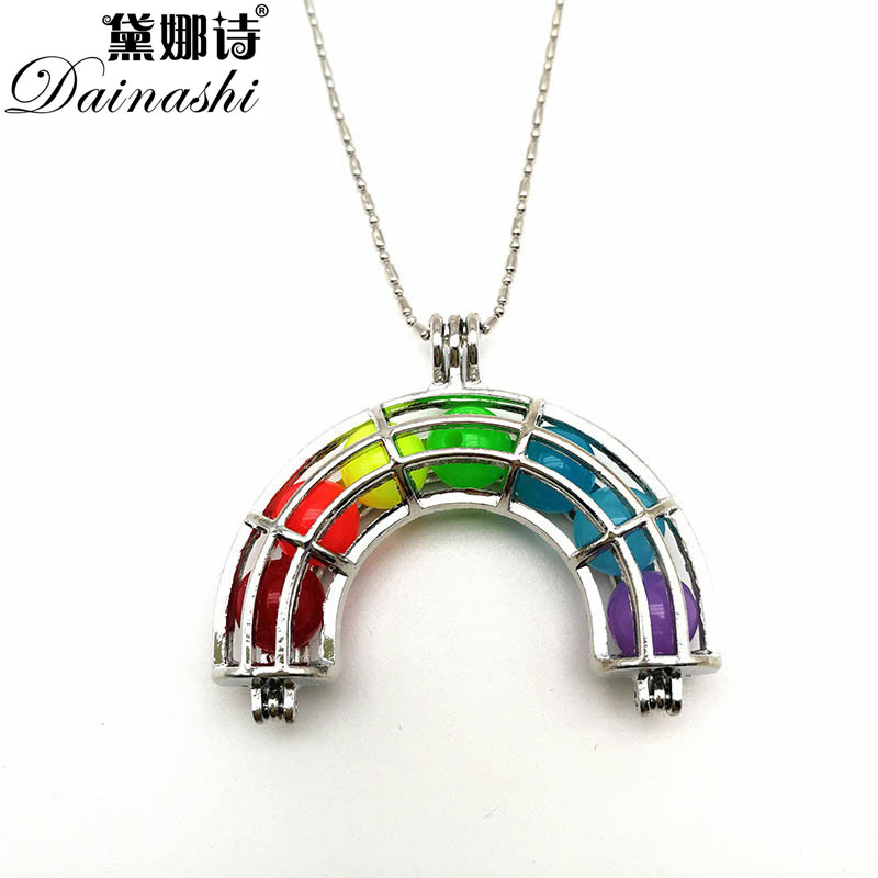 Winter Arrival Rainbow Cage Pearl Pendant, AAAA Genuine Pearl Cage Jewelry ,Fashion Necklace/Sweather Chain for Christmas Gifts