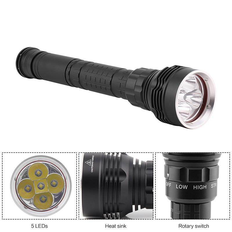 BORUiT 10000LM 5 XML L2 LED Diving Flashlight 100m Underwater Dive Scuba Torch Light Outdoor Emergency Portable Lantern 18650