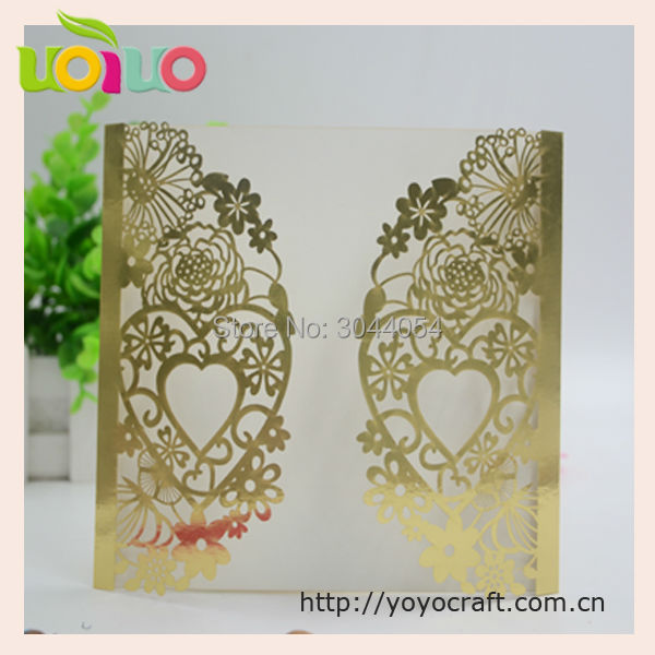 high quality 250g pesarl paper romantic heart wedding invitation