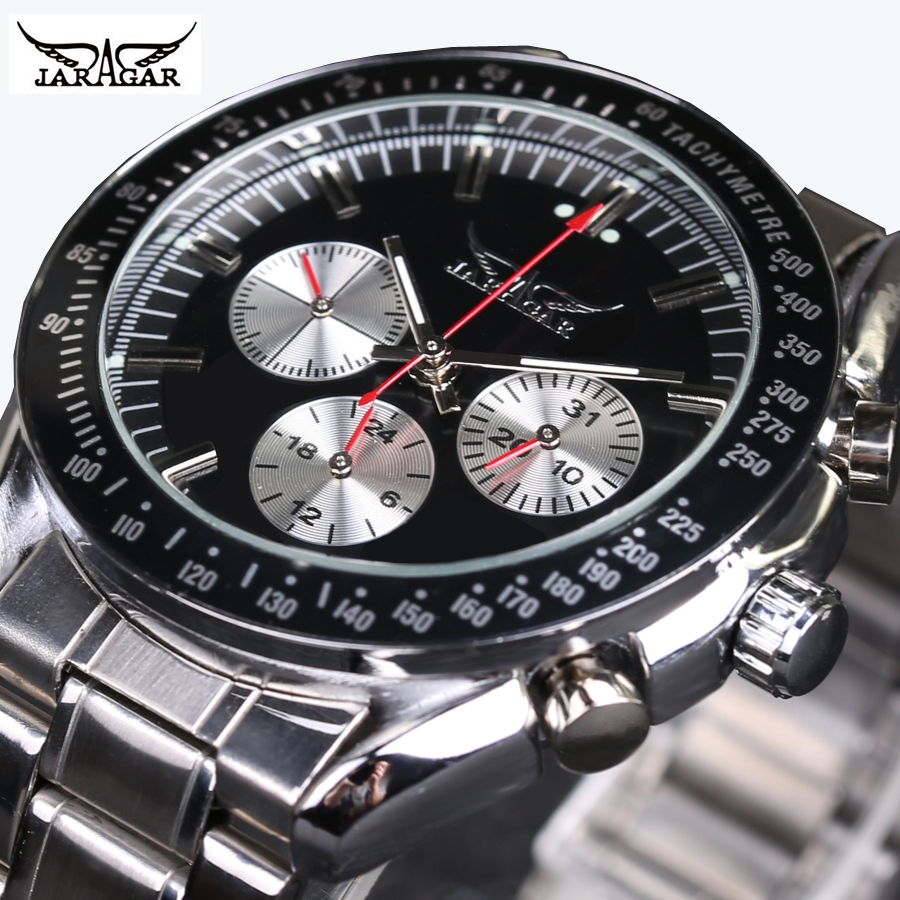 JARAGAR Men Watch Top Brand Luxury Automatic Mechanical Sports Military Watch With Calendar Function Stainless Steel Band
