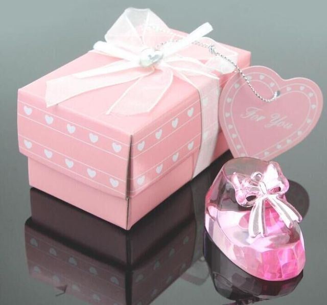 50pcs Baby Shower Gift For Guests Pink Color Crystal Baptism Favor