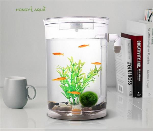 1 Piece Plastic Lazy Fish Tank Small Aquarium Mini Goldfish Bowl Square Fish Tank Round Fish Tank Ecological Fishbowl Rransparen