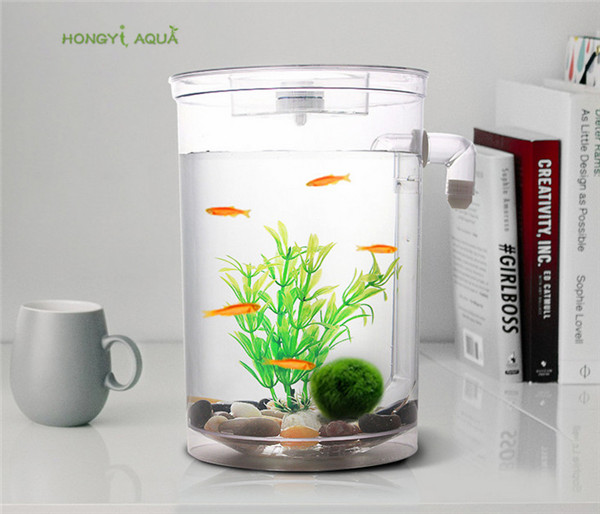 1 piece plastic lazy fish tank small <font><b>aquarium</b></font> mini goldfish bowl square fish tank <font><b>round</b></font> fish tank ecological fishbowl rransparen image