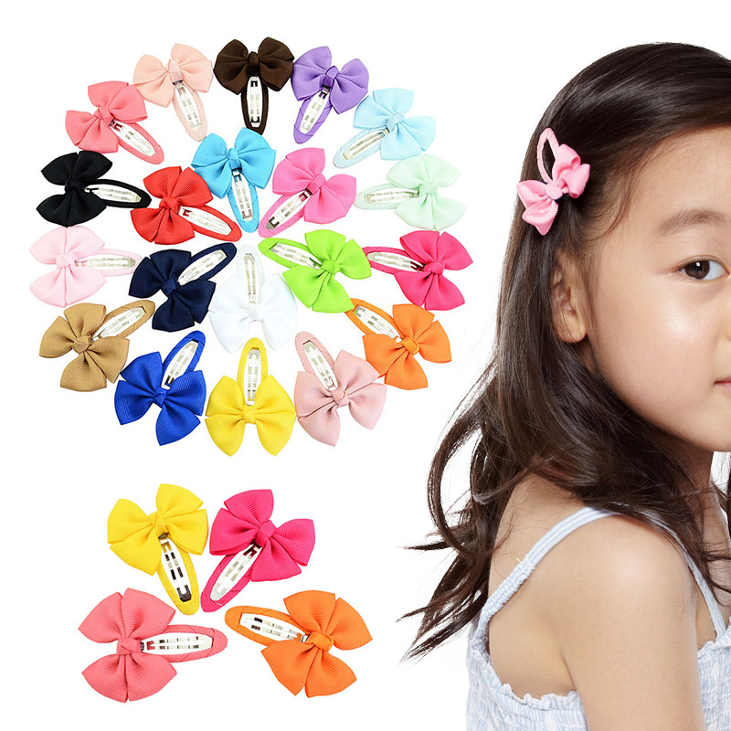 Sale 2PCS/Set 20Colors Bow Girls Kids Candy Color Hairpins Sweet Lovely BB Clips Hair Accessories