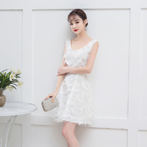 Back of Zipper Bridemaid Dress White Colour Mini Dress for Women Wedding Party Dress