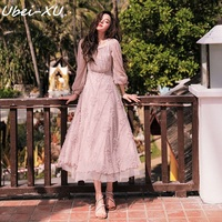 Ubei Spring/summer vintage dress show slimness French fairy dress lace pink long dress women fashion