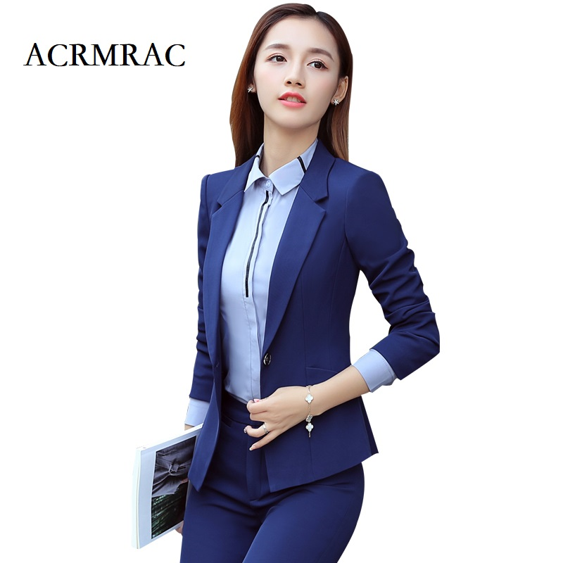ACRMRAC Womens suits New Solid color Slim Single Button jacket pants Business OL Formal Pants Suits