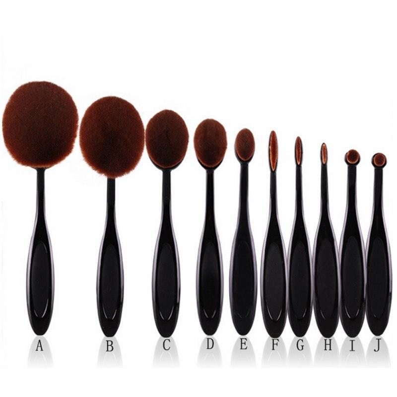 Hot 10pcs Pro font b Toothbrush b font Makeup Brush Oval Brush Set Multipurpose Makeup Brushes
