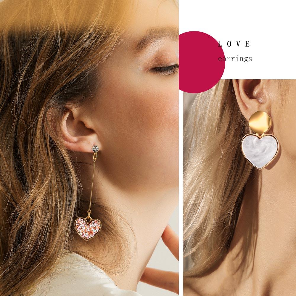 X&P New Korean Heart Statement Drop Earrings 2020 for Women Fashion Vintage Geometric Acrylic Dangle Hanging Earring Jewelry 5