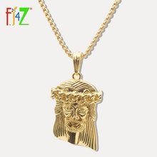 Jesus-Pendant Jewelry Chain-Collars Mens Necklaces Women Gifts Gold-Tone F.J4Z for Fashion