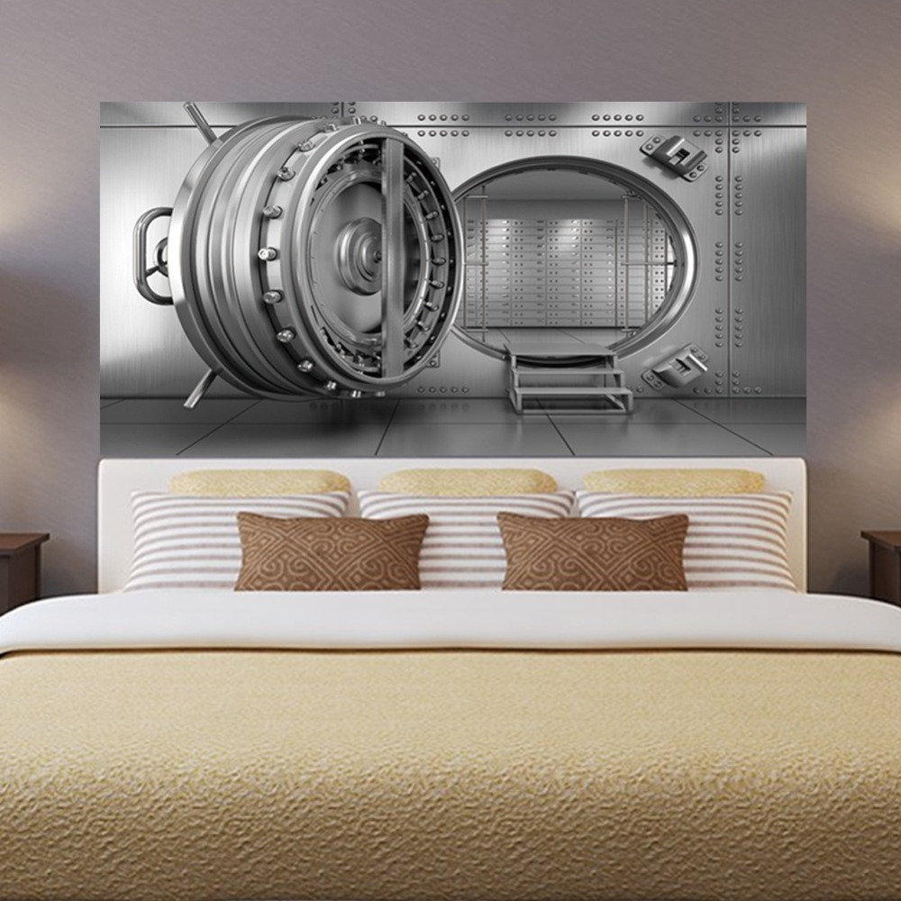 Tv Bank Diy Us 18 33 26 Off Personality 3d Bank Vault Bedside Art Mural Wall Sticker Home Decor Bedroom Tv Sofa Wall Poster Diy Pvc Self Adhesive Wallpaper In