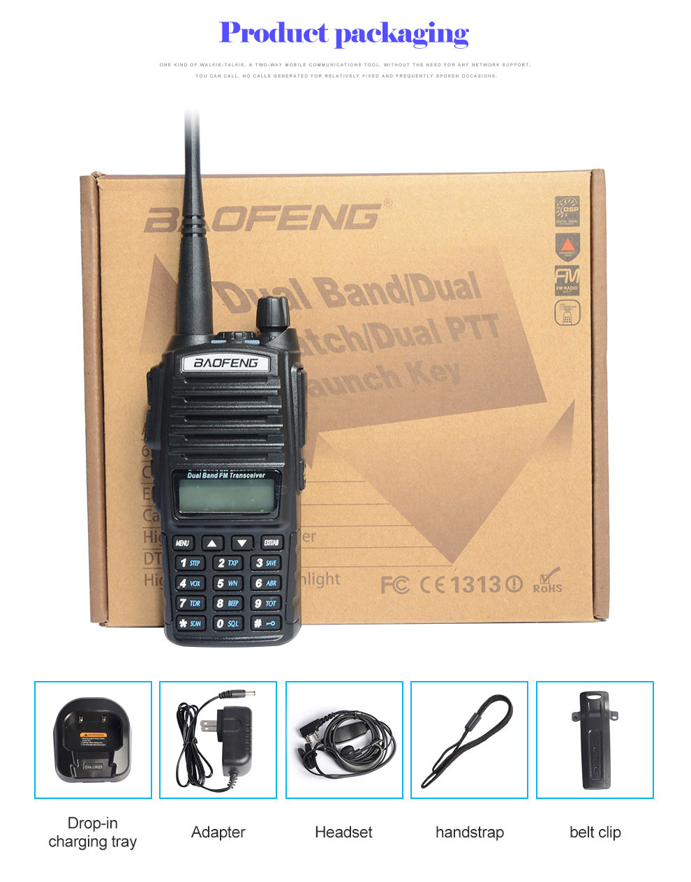 Image 4 - baofeng uv 82 walkie talkie 136 174MHZ and 400 520MHZ (TX/RX) dual PTT  FM Ham Two way Radio Transceiver, walkie talkie-in Walkie Talkie from Cellphones & Telecommunications