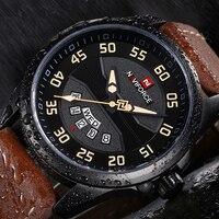 NAVIFORCE New Arrival moda Sport Watch mężczyźni skórzany wodoodporny zegarek kwarcowy na rękę zegarki mężczyźni zegarek wojskowy Relogio Masculino w Zegarki kwarcowe od Zegarki na