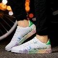 Мода Мужская пара обувь Повседневная Радуга Обувь Плоским Пару Прогулки Женская Обувь Тренер Обувь Chaussure Femme Плюс Размер 35-46