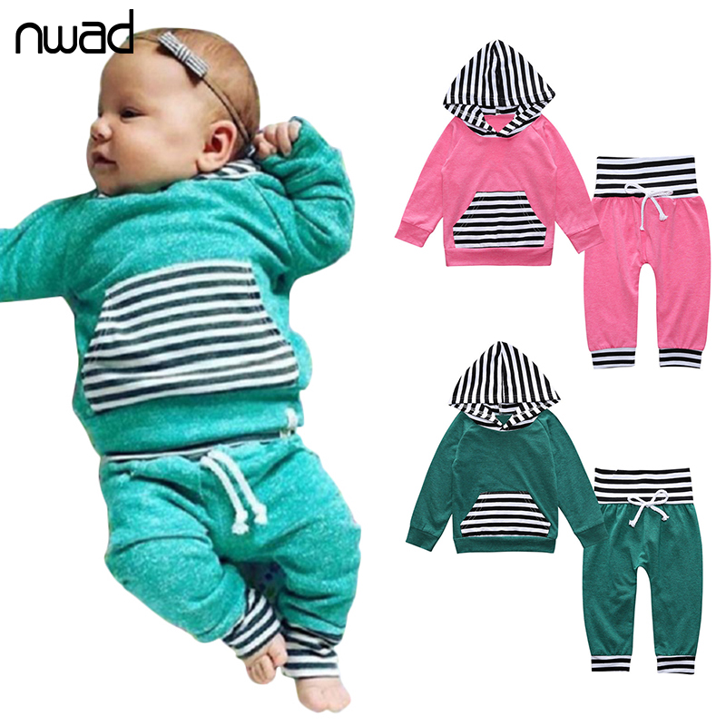 NWAD Spring Baby Boys Girls Clothes Sets Cotton Long Sleeve Hoodies + Trousers Newborn Baby Boys Girls Clothing Sets FF376