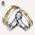 ORSA ДРАГОЦЕННОСТИ Мода Titanium Стальные Кольца Пара Ювелирных Изделий Кольца для Мужчин Женщины Свадьба Обручальное Кольцо OTR70