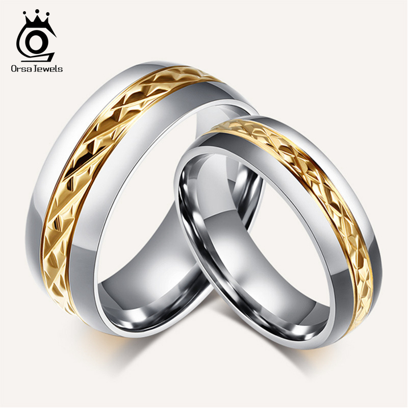 Orsa jewels fashion titanium steel couple rings set for Wedding rings for male and female