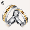 ORSA JEWELS Fashion Titanium Steel Couple Rings Set Jewelry Rings for Men Women Engagement Wedding Ring OTR70