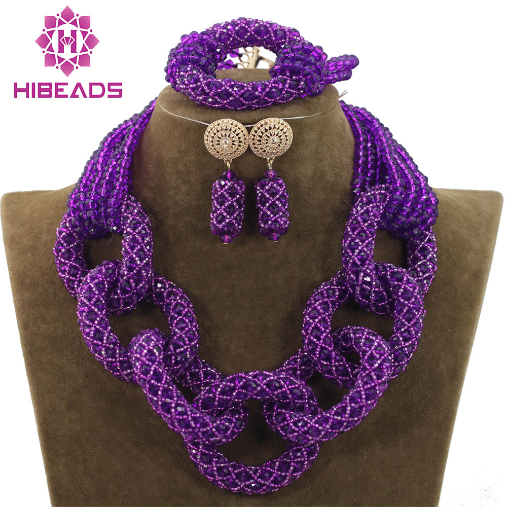 African Wedding Purple Crystal Pendant Necklace Set African Nigerian Costume Jewelry Set for Women Free ShippingABH130 цены онлайн