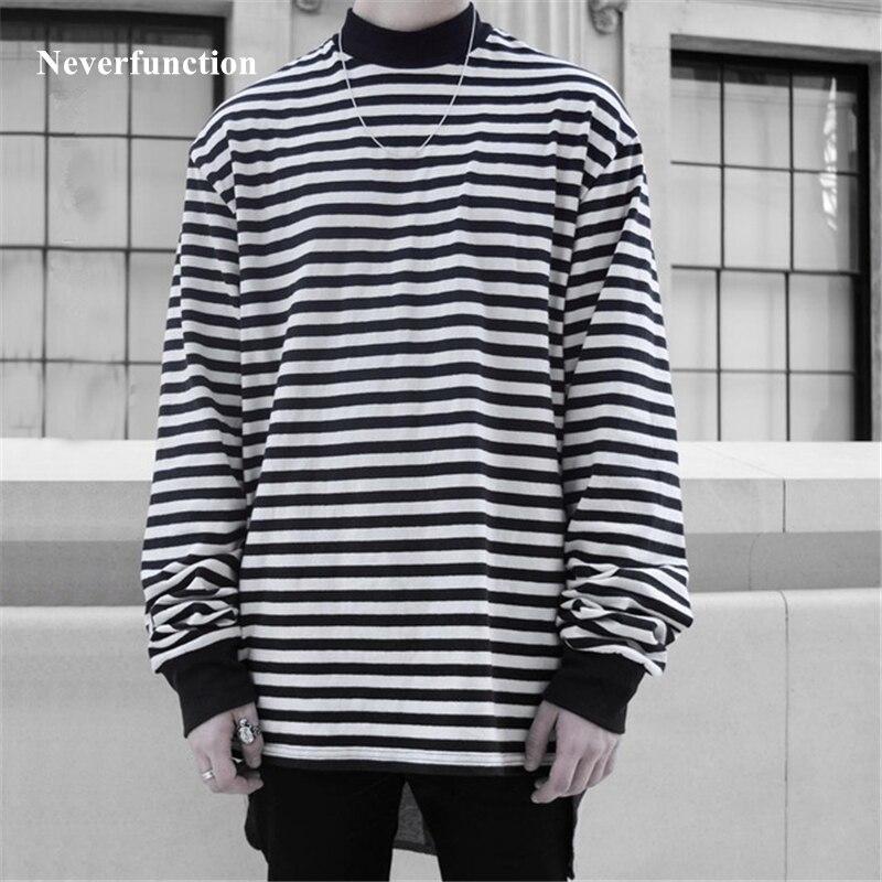 4cbaeb0328c47 Autumn 2018 Men New Long sleeve striped T-shirt Hip Hop Loose Cotton Streetwear  Men