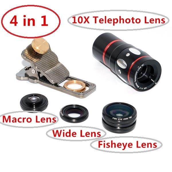 Universal 4 En 1 Teléfono Móvil Teleobjetivo Telescopio de la lente de 10X + Peces lente ojo de pez para galaxy s7 s6 note 5 iphone htc smartphone cl-3-lx