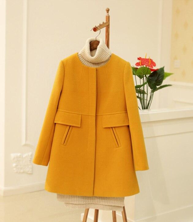 New 19 Spring Autumn Plus Size Wool Coat Women Loose A-aline Long Sleeved O-neck Medium Long Black Yellow Korean Coat Casacos 3