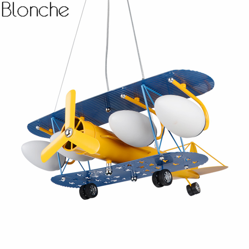 Creative Retro Children's Aircraft Pendant Light Modern Plane Led Hanging Lamp Bedroom Boy Room Kids Cartoon Fixtures Home Decor creative cartoon baby cute led act the role ofing boy room bedroom chandeliers children room roof plane light absorption