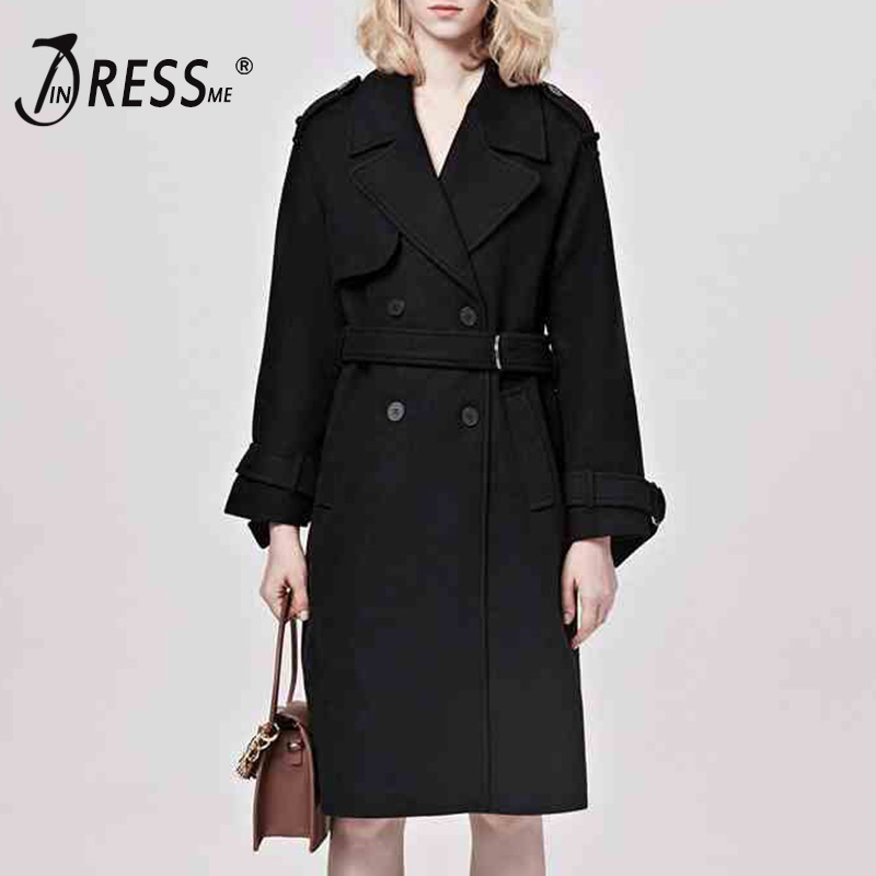INDRESSME Fashion   Trench   Coat Autumn Women Turn Down Collar Coats Straight Button Sashes Belt Women Overcoats 2018Clearance