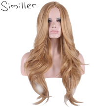 Similler Women's Long Curly Cosplay Wigs Synthetic High Temperature Fiber Hair Blonde Central Parting 26 Inch