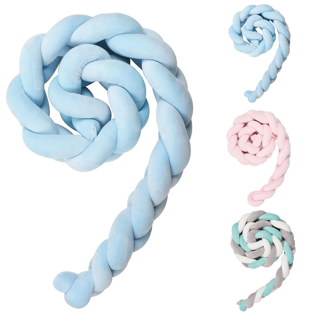 Bumpers Baby Handmade Nodic Knot Newborn Bed Bumper Long Knotted Braid Pillow Baby Bed Bumper Knot Crib Infant Room Decor