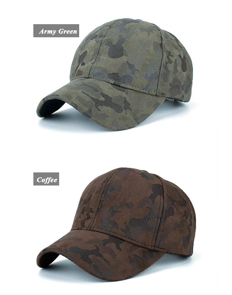 Faux Leather Camo Baseball Cap - Army Green Cap and Coffee Cap Options