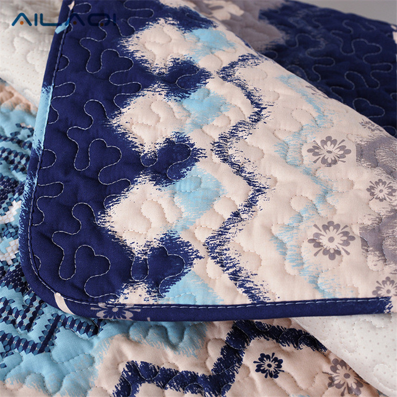 AILAQI Mediterranean style blue cotton fabric four seasons common living room European anti - skid sofa mat sofa sets