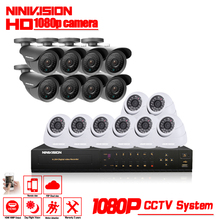 NINIVISION 16CH CCTV System 2MP 1080P HDMI DVR 16PCS indoor Outdoor Home Video Security Cameras Surveillance System With 2TB HDD