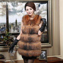 2016 Luxury Genuine Raccoon Fur Vest Waistcoat Winter Women Fur Medium long Outerwear Coats Lady Gilet