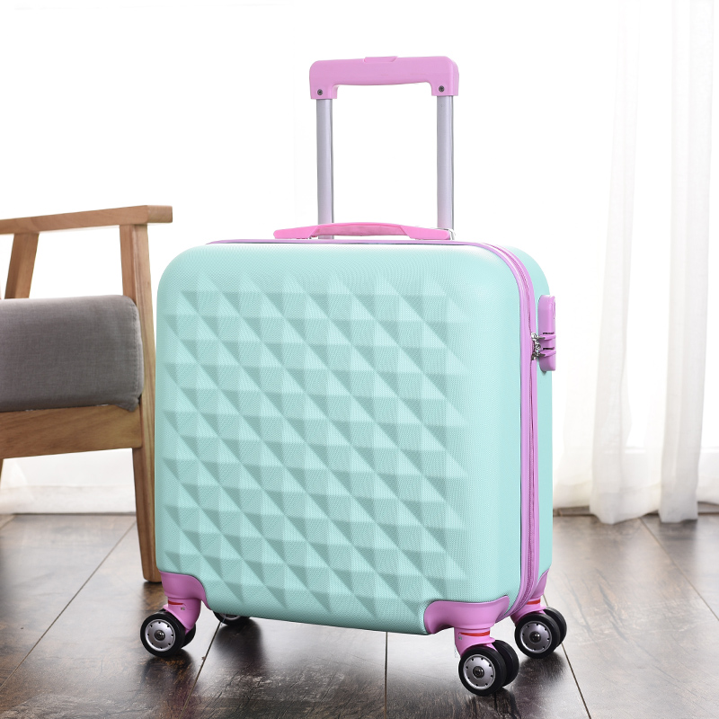 Wholesale!18inches high quality abs hardside travel luggage bag on universal wheels for girl,korea fashion pink case luggage