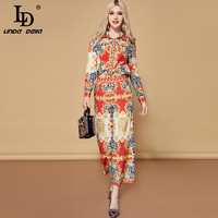 LD LINDA DELLA 2019 Fashion Runway Pants Two Pieces Set Women's Long Sleeve Blouses + Vintage Printed Pants Sets Suits