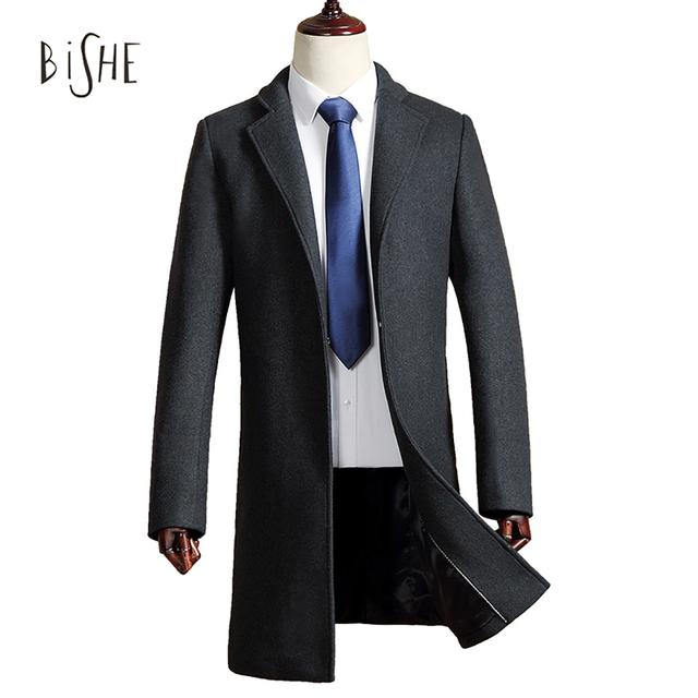 2017 novo Business Casual Jaqueta Corta-vento de Algodão Formal de Longo Fino Casaco de Lã Masculina Estilo Britânico Dos Homens do Sobretudo Casacos M-3XL