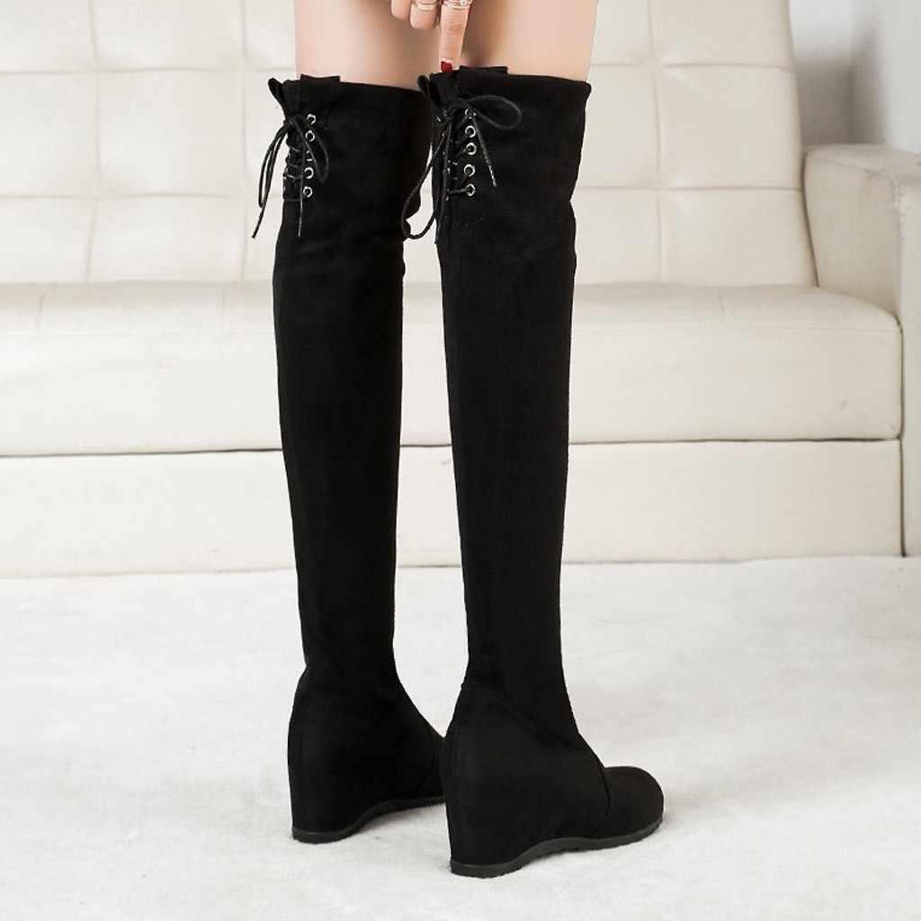 Neue Oberschenkel Hohe Stiefel Weibliche Winter Stiefel Frauen Über Das Knie Stiefel Flache Stretch Sexy Mode Schuhe 2020 Schwarz Botas mujer # L20